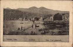 Postcard Itea Griechenland, Vue générale, Strand, Baumstämme, Ort