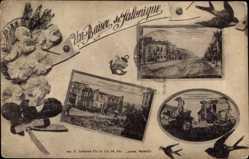 Postcard Saloniki Griechenland, Bvd de la Défense Nationale, Quartier après incendie