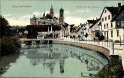 Postcard Sigmaringen an der Donau, Flusspartie, Brücke, Kirche, Häuser