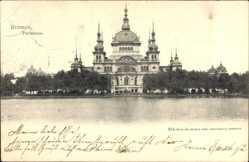 Postcard Hansestadt Bremen, Blick vom Wasser auf das Parkhaus