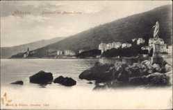 Postcard Abbazia Kroatien, Südstrand mit Marienstatue