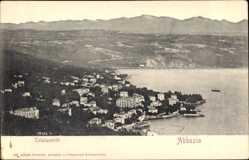 Postcard Abbazia Kroatien, Totalansicht der Ortschaft, Küste