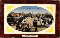 Präge Passepartout Ak Konstantinopel Istanbul Türkei, Nouveau Pont, Galata