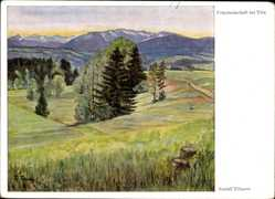 Künstler Ak Tillmetz, Rudolf, Bad Tölz im Isartal Oberbayern, Föhnlandschaft