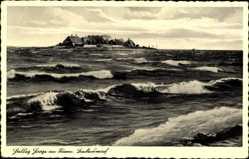 Postcard Hallig Hooge in Nordfriesland, Backenswarft, Blick vom Wasser