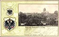 Präge Wappen Ak Aschendorf Papenburg a.d. Ems, Blick auf den Ort