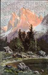 Künstler Ak Splitgerber, Gebirge, See, Nadelgehölz