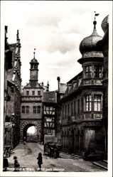 Postcard Marktbreit am Main, Blick zum Maintor, Straßenpartie, Zwiebelturm