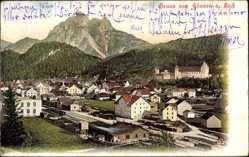 Postcard Füssen am Lech, Blick auf den Ort mit Bahnhof und Umgebung