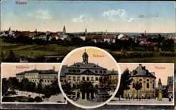Postcard Hanau im Main Kinzig Kreis, Rathaus, Theater, Akademie