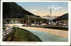 Postcard Wallgau in Oberbayern, Kanalpartie am Stolleneingang, Ortschaft