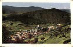 Postcard Heimbach in der Eifel, Blick vom Berg auf den Ort