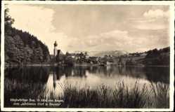 Postcard Höglwörth Anger in Oberbayern, Blick über den See auf den Ort