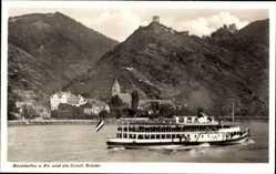 Postcard Bornhofen am Rhein, Ruine Sterrenberg und Liebenstein, Fähre