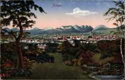Postcard Zittau in der Oberlausitz, Panoramablick auf den Ort