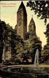 Postcard Speyer, Blick in den Domgarten, Dom, Glockenturm, Springbrunnen