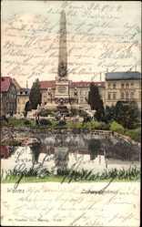 Postcard Worms, Blick auf das Ludwigsdenkmal, Teich, Parkanlage, Passanten