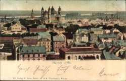 Postcard Worms Rhein, Stadtpanorama, Häuser, Türme, Schloss, Fenster
