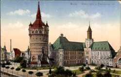 Postcard Worms Rhein, Blick auf den Wasserturm, Eleonorenschule, Vorplatz