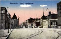 Postcard Ludwigshafen Rhein, Hauptbahnhof, Gleise, Gebäude, Laternen