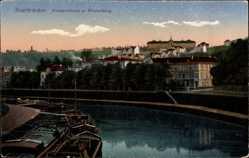 Postcard Saarbrücken, Blick auf das Krankenhaus, Winterberg, Flusspartie