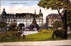 Postcard Mannheim, Blick auf den Paradeplatz, Gebäude, Fachwerk, Parkanlage