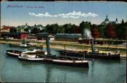 Postcard Mannheim, Partie am Rhein, Dampfer, Gebrüder Krull, Gebäude