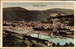 Postcard Eberbach am Neckar, Stadtpanorama, Flusspartie, Brücke, Glockenturm