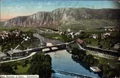 Postcard Bad Münster Ebernburg Bad Kreuznach, Stadtansicht, Flusspartie, Brücke