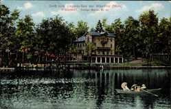 Postcard Bernau, Liepnitzsee, Ruderer, Gebäude, Uferpromenade, Bäume