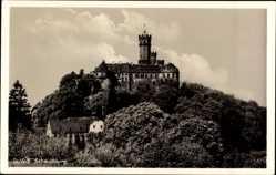 Postcard Baldwinstein, Blick auf das Schloss Schaumburg, Turm, Kreuz