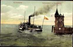 Postcard Konstanz am Bodensee, Salondampfer, Hafeneinfahrt, Leuchtturm, Fahne, Rauch