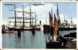 Postcard Hamburg Mitte Altstadt, Segelschiffhafen, Segelschiffe, Masten