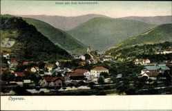 Postcard Oppenau Schwarzwald, Stadtpanorama, Glockenturm, Häuser