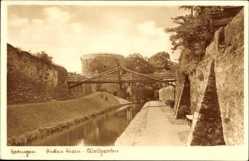Postcard Ratingen, Blick auf den dicken Turm, Wallgraben, Brücke, Mauer