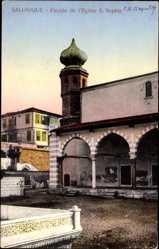Postcard Saloniki Griechenland, Facade de l'Eglise Sainte Sophie