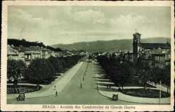 Postcard Braga Portugal, Avenida dos Combatentes da Grande Guerra