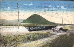 Postcard Saloniki Griechenland, Toumba prés du Vardar, Brücke mit Berg