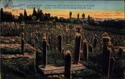 Postcard Saloniki Griechenland, Cimetières turcs anciens sur la route de Zeitenlik