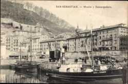 Postcard Donostia San Sebastián Baskenland, Muelle y Descargadero