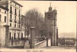 Postcard Irún Irun Baskenland Spanien, Escuelas y Iglesia, Schule und Kirche