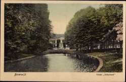Postcard Beverwijk Nordholland, Huize Scheybeek, Flusspartie