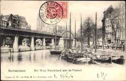 Postcard Rotterdam Südholland Niederlande, Het West Nieuwland met de Viaduct