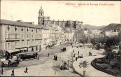 Postcard Malaga Andalusien, Avenida de Enrique Crooke Larios, Straßenbahn