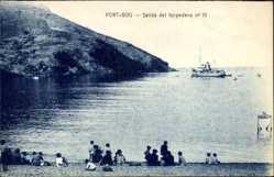 Postcard Portbou Katalonien, Salida del torpedero, Kriegsschiff im Hafen