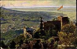 Postcard Baden Baden, Blick auf das alte Schloss, Fahne, Stadtansicht, Tal