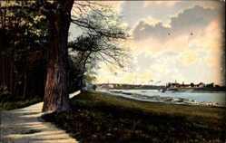 Postcard Riesa, Stadtpanorama vom Stadtpark, Flusspartie, Spazierweg