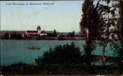 Postcard Niederzell Insel Reichenau Bodensee, Kirche, Seepartie, Boote