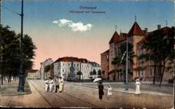 Postcard Dortmund im Ruhrgebiet, Hiltropwall mit Gymnasium