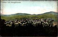 Postcard Löbau Sachsen, Blick vom Honigbrunnen auf die Stadt